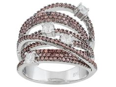 Bella Luce (R) 3.23ctw Mocha & White Diamond Simulant Round Rhodium Over Sterling Silver Ring