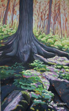 On this particular hike we had waited quite some time before the conditions and the timing came together. Worth the wait, the conditions were perfect for hiking and the forest was at its freshest just awakening from its winter sleep. The colors were clean and alive with the new spring growth. Tree painting by Krista McMillan. Beamer Memorial Conservation Area.