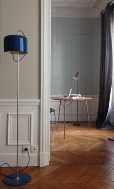 Joe Colombo Coupe floor lamp & Arne Jacobsen Egg table with original Arne Jacobsen A J visor floor lamp on back.