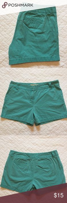 """J. Crew Turquoise Chino Shorts A Summer staple - 100% cotton turquoise chino shorts - city fit - pockets - 5"""" inseam - great pre-loved condition J. Crew Shorts"""