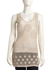 Floral Crochet Tank, Sand by Free People at Last Call by Neiman Marcus.