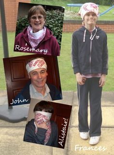 WE'RE WEARING OUR BANDANAS in tribute to Frances, whose life has touched so many ~ Rosemary, John & Alistair