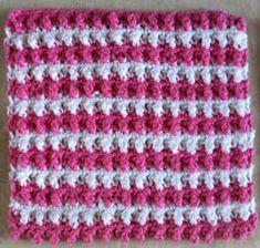 Best Free Crochet » #4 Pebbly Pink & White Striped Crochet Dishcloth
