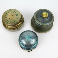 1930s Metal Powder Music Boxes Embellished Lids Vtg Retro Lot of 3 Silver AS IS