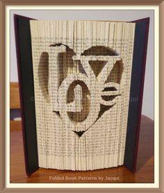 Love in a Heart. Book Folding Pattern by JHBookFoldPatterns on Etsy