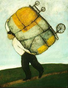 """burden with wheels"" by brian kershisnik"