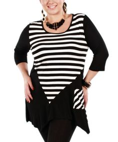Take a look at this Black & White Stripe Sidetail Tunic - Plus on zulily today!