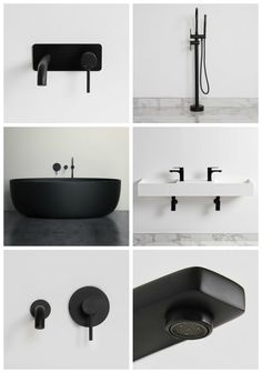 matte black bathroom taps by lusso stone - trendy bathroom with black taps