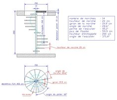 Calcul d'un escalier en colimacon Spiral Staircase Plan, Spiral Stairs Design, Staircase Design, Cob House Interior, Architecture Foundation, Elevator Design, Building Stairs, Stair Handrail, House Layouts