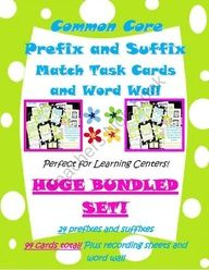prefixes and suffixes bundle (over 75 matching cards) and a word wall! product from The-Teaching-Side on TeachersNotebook.com