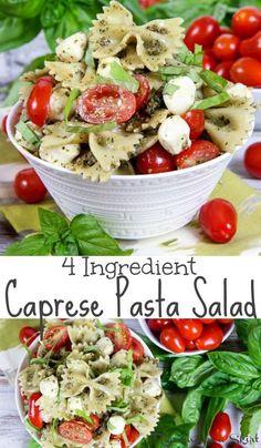 4 Ingredient Easy Caprese Pasta Salad with Pesto recipe &; the best healthy cold tomato mozzarella s&; 4 Ingredient Easy Caprese Pasta Salad with Pesto recipe &; the best healthy cold tomato mozzarella s&; Tomato Mozzarella Salad, Caprese Pasta Salad, Pesto Pasta Salad, Fresh Mozzarella, Crab Salad, Cold Pasta Salads, Caprese Recipe, Spinach Salads, Tomato Recipe