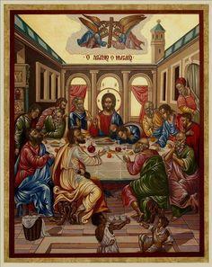 Michail Damasm.damaskinos kinos, 16 century Byzantine Art, Byzantine Icons, Catholic Art, Religious Art, Godly Play, Eucharist, Last Supper, Holy Week, Orthodox Icons