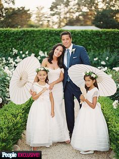 """our lovely client Liz Cho wore Romona Keveza Couture in blush for her gorgeous """"backyard"""" wedding at her villa in Santa Barbara.  Her rehersal dinner and after party dresses were by Roberto Cavalli.   NYC Wedding Alteration Services"""