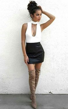 Leather skirt with suede knee-high boots