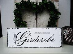 Shabby Vintage Holz Schild GARDEROBE von homestyle-accessoires via dawanda.com