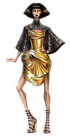 New Fashion Illustration Marker Beautiful Ideas Metal Fashion, 3d Fashion, Runway Fashion, Fashion Outfits, Fashion Ideas, Classy Fashion, Fashion Design Sketchbook, Fashion Sketches, Fashion Illustrations