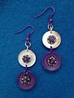 Purple and Shimmering Shell Button Earrings, Unique Earrings Made from Leftover Buttons, Creative Jewelry with Buttons, Earrings with Purple by CatterflyStudios on Etsy