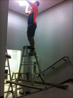 He couldn't find a longer board (or a little Giant ladder)