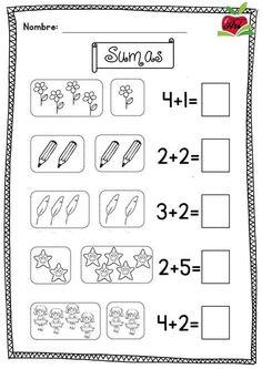Actividades De Preescolar Para Imprimir De Matematicas Kindergarten Math Worksheets, Preschool Learning Activities, School Worksheets, Preschool Math, Teaching Kids, Numbers Preschool, Math Addition, Simple Addition, New Students