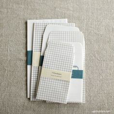 Lovely paper pockets/envelopes made of semi-transparent tracing paper. Available in Grid and Label, in 3 different sizes.