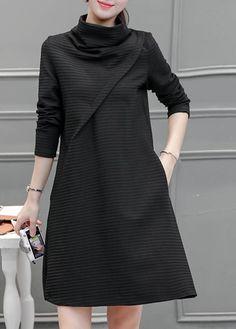 8e3c40dbc0f9 Black Long Sleeve High Neck Pocket Design Dress