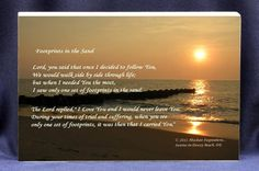 """""""Foot Prints in the Sand"""" Religious Poem . A beautiful photo, poem and gift plaque in one by custom made  by customgiftplaques, $17.00"""