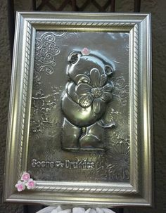 Pewter Teddy in Frame