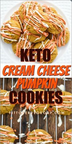 These easy Keto Cream Cheese Pumpkin Cookies for a pumpkin spice cookie that won't affect your waistline. Low in carbs, and sugar-free these keto pumpkin cookies are bursting with the flavor of fall and are sure to become a seasonal favorite. Keto Cookies| low carb cookies| sugar-free cookies| Keto pumpkin recipe| low carb pumpkin recipe #ketopumpkincookies #lowcarbpumpkincookies Sugar Free Cookies, Keto Cookies, Cheese Cookies, Keto Friendly Desserts, Low Carb Desserts, Healthy Desserts, Pumpkin Cookies, Pumpkin Spice, Pumpkin Scones