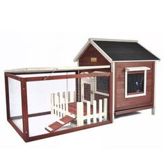"""Features:  -Includes a hinged roof on house and courtyard for easy access.  -Does not include a wire floor above the slide-out tray.  Finish: -Auburn.  Material: -Wood. Dimensions:  -Courtyard: 32"""" x"""