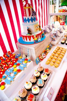Dessert table, cookies ,cake ,cupcakes u can add more ! #carnival inspired party