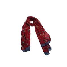 Echarpe Mini Flores Passarinho Vinho de Algodão #echarpes #lenços #lenço #scarf #scarfs