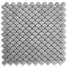Carrara White Mini Fish Scale Fan Shaped Mosaic Tile Honed
