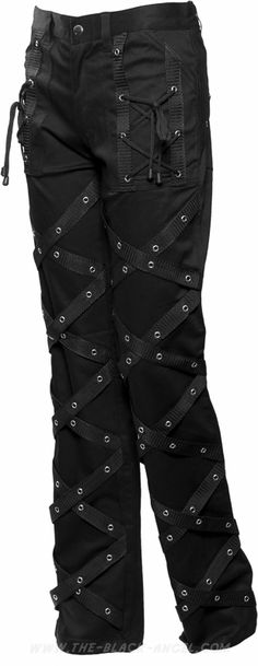 Black gothic pants by Hard Leather Stuff, with criss-crossing strap detail on each leg.