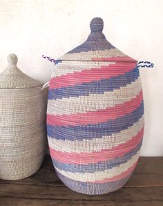 Handmade Laundry Basket (XL) in white, pink and blue / Laundry Hamper / Storage basket from Senegal / African Basket / cesta africa Laundry Basket With Lid, Laundry Hamper, Industrial Companies, Large Baskets, Storage Baskets, Cool Stuff, Stuff To Buy, Pink, Handmade
