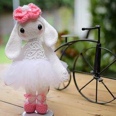 "My #ballerina #lalylala #ritatherabbit I love, love my little rabbit !! She stands 9"" tall, made with #AuntLydias crochet thread number3. Thanks again @laly_dia for creating the  doll patterns! I love them!  . . #amigurumidoll #stuffbunny #amigurumi #crochetrabbit #crochet #lovetocrochet #crocheting #ballerinabunny #ballerinadoll"