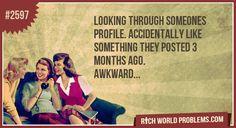 Looking through someones profile.