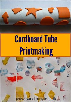 Use an old cardboard tube and foam stickers to make prints on paper. Fun art activity for toddlers.