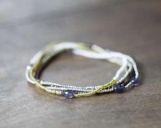 Beaded Multi Wrap Bracelet Boho Chic Seed Bead by MoonLabJewelry