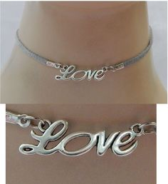 Silver Love Choker Necklace Handmade Adjustable Gray Accessories NEW Fashion | eBay