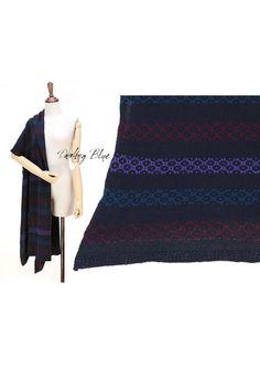 pure wool oversize shawl pure wool shawl navy knit by KnittingbyDB