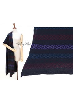 pure wool oversize shawl pure wool shawl navy knit by KnittingbyDB
