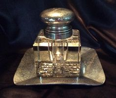 Arts and Crafts style Hammered Sterling silver Ink Well with underplate $189