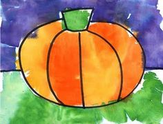 pumpkin tissue paper painting