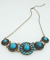 "Vintage Style Turquoises Necklace  $10.00  Necklace Length 27.95"" / 71cm Turquoise Diameter 0.59"" / 1.5cm(Large), 0.39"" / 1cm(Small)"