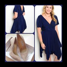 Gorgeous Navy Blue Dress This gorgeous dress features a handkerchief  hem and V back opening. Elastic waist. Short sleeves. Comfortable jersey knit material. Shoe of, only used for styling. (This closet does it trade or use PayPal) Dresses