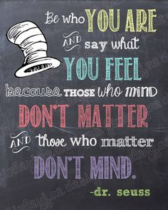 Dr. Seuss Chalkboard Printable Be Who You Are by FinleyJaeDesigns, $7.00