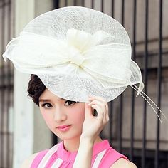 Gorgeous Flax  Ladies Wedding / Party / Outdoor Hat With Big Bowknot(More Colors) – USD $ 24.49