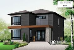 OUR LOVE FOR MONOCHROME EXTERIORS  Attractive & Affordable Small Contemporary Design, 3 bedrooms with 2 family rooms (# 3713)  http://www.drummondhouseplans.com/house-plan-detail/info/aniston-contemporary-1003057.html