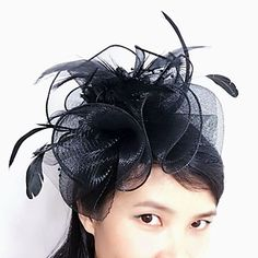 prom Cream white feathers teardrop hatinator with double clips and criss cross netting races weddings