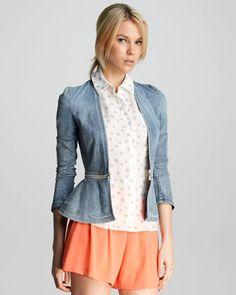 ShopStyle: Rebecca Taylor Denim Peplum Jacket In mint green! Jean Jacket Outfits, Peplum Jacket, Denim Casual, Denim Blazer, Jeans, Tailored Jacket, Polka Dot Blouse, Hijab Outfit, Rebecca Taylor